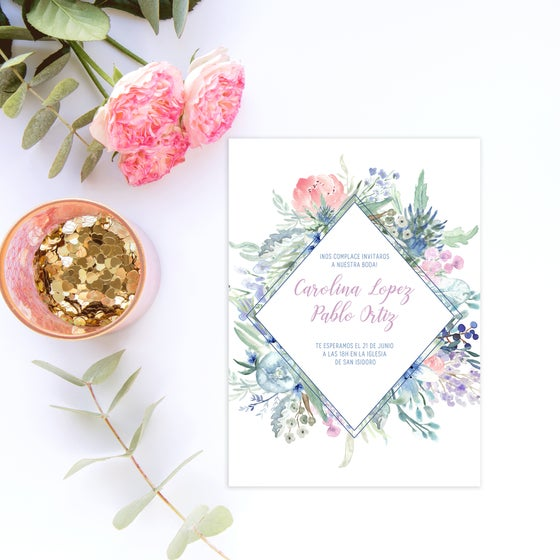 Image of Plantilla Invitación Wild Blue