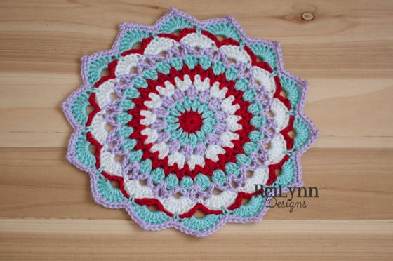 Image of Red, Aqua, Lavender, and White Mandala Layer