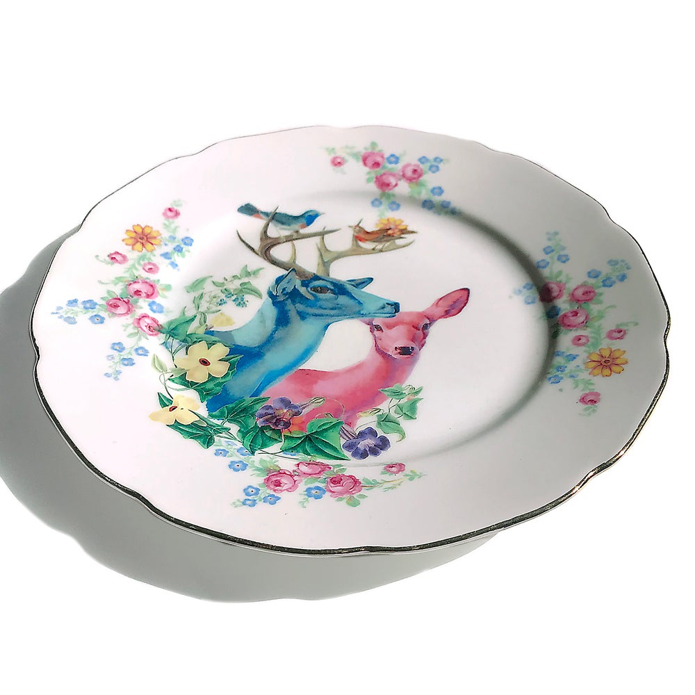 Image of Deer Couple - Vintage Porcelain Plate - #0539