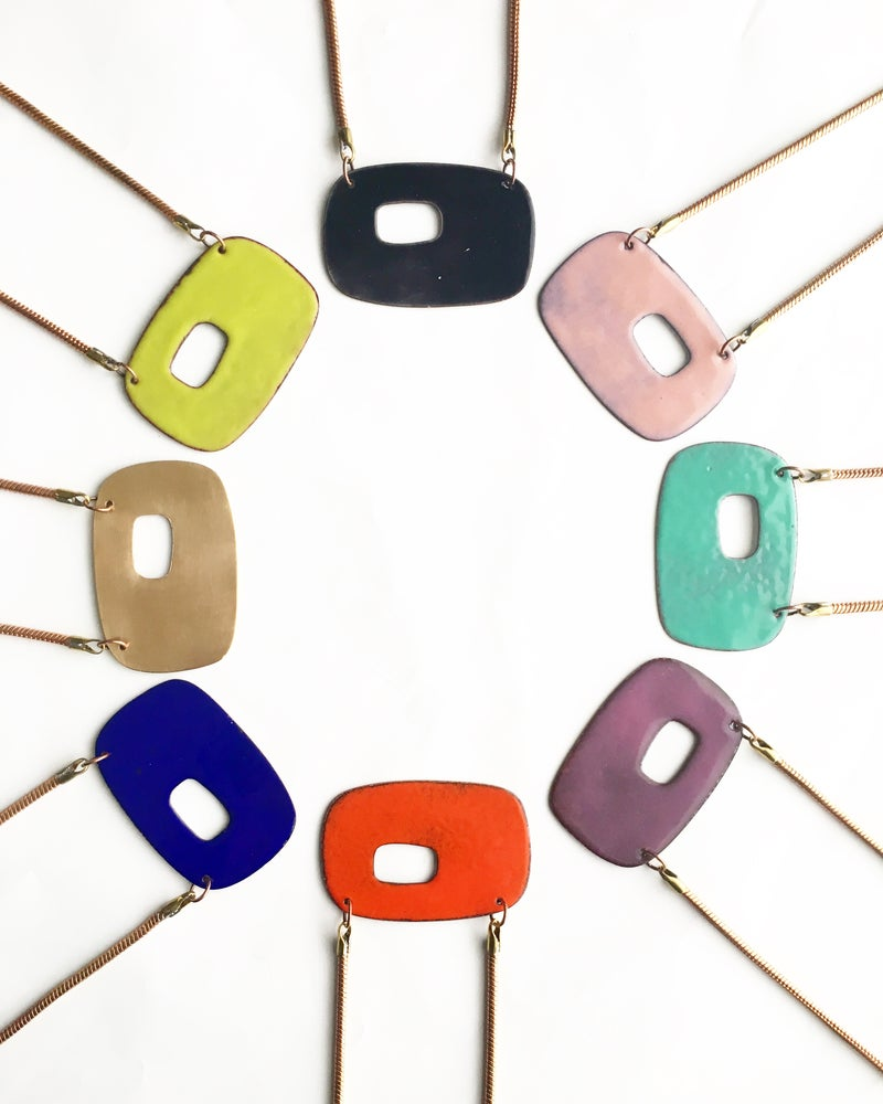Image of Abstract Enamel Necklace- Reversible