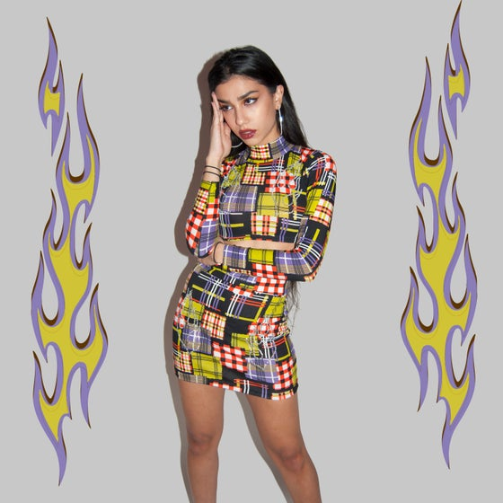 Image of Fuego Plaid club gurl set