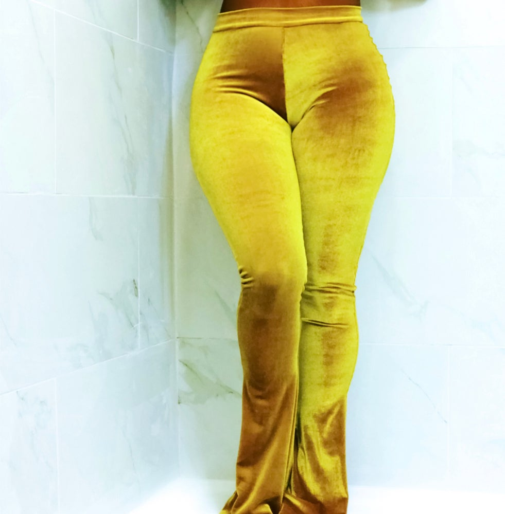 Image of Velvet Fitted Flare Pant