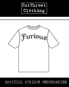 Image of Furious T Shirt 2 White with Crossed Flicknives on Back