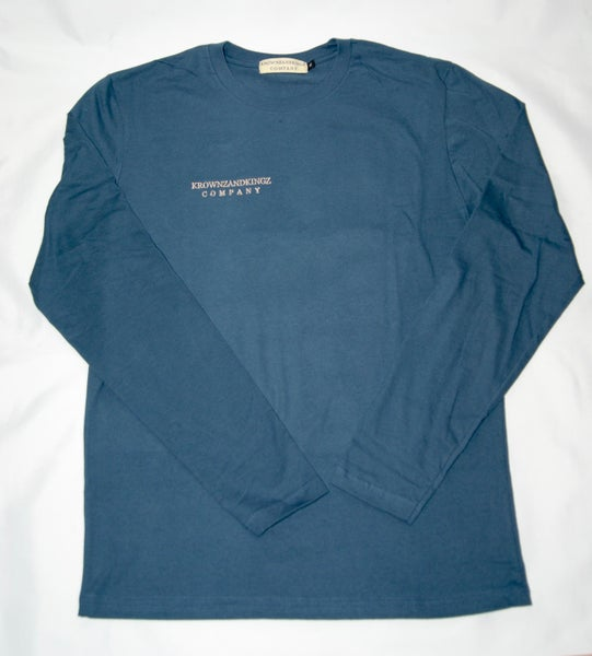 Image of Indigo Blue Embroidered L/S Tee