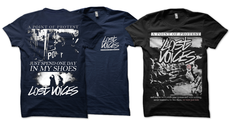 """Image of """"Lost Voices"""" shirts"""
