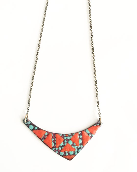 Image of Red and Aqua Enamel Necklace