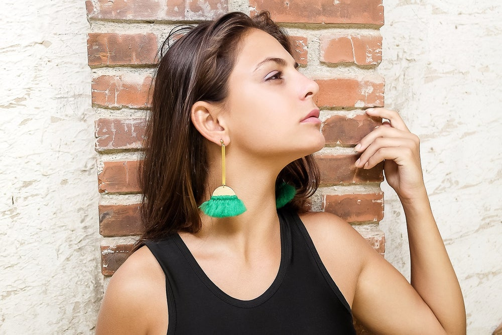 Image of Green Bar Earrings