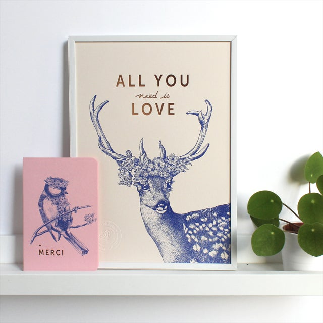 """Image of AFFICHETTE """"ALL YOU NEED IS LOVE"""" BLANC ROSÉ"""
