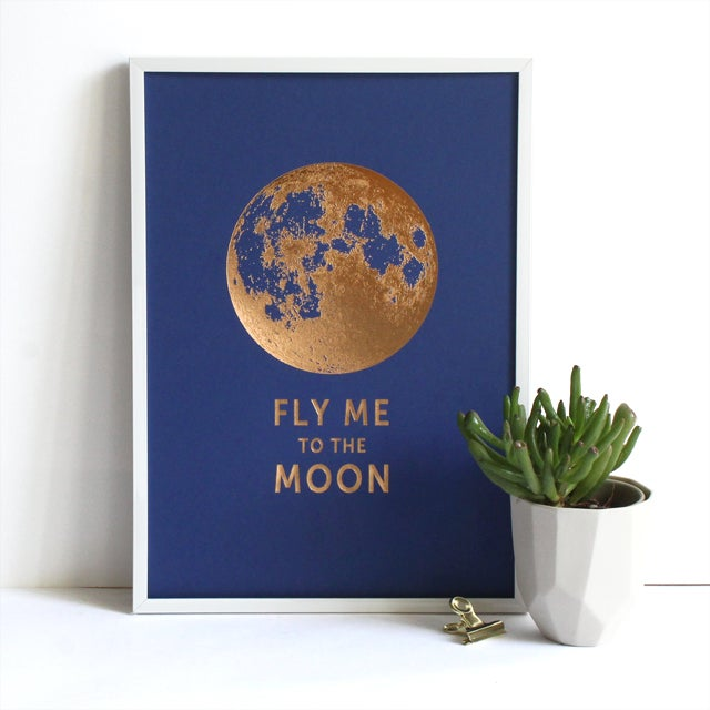"Image of AFFICHETTE ""FLY ME TO THE MOON"" BLEU SAPHIRE"