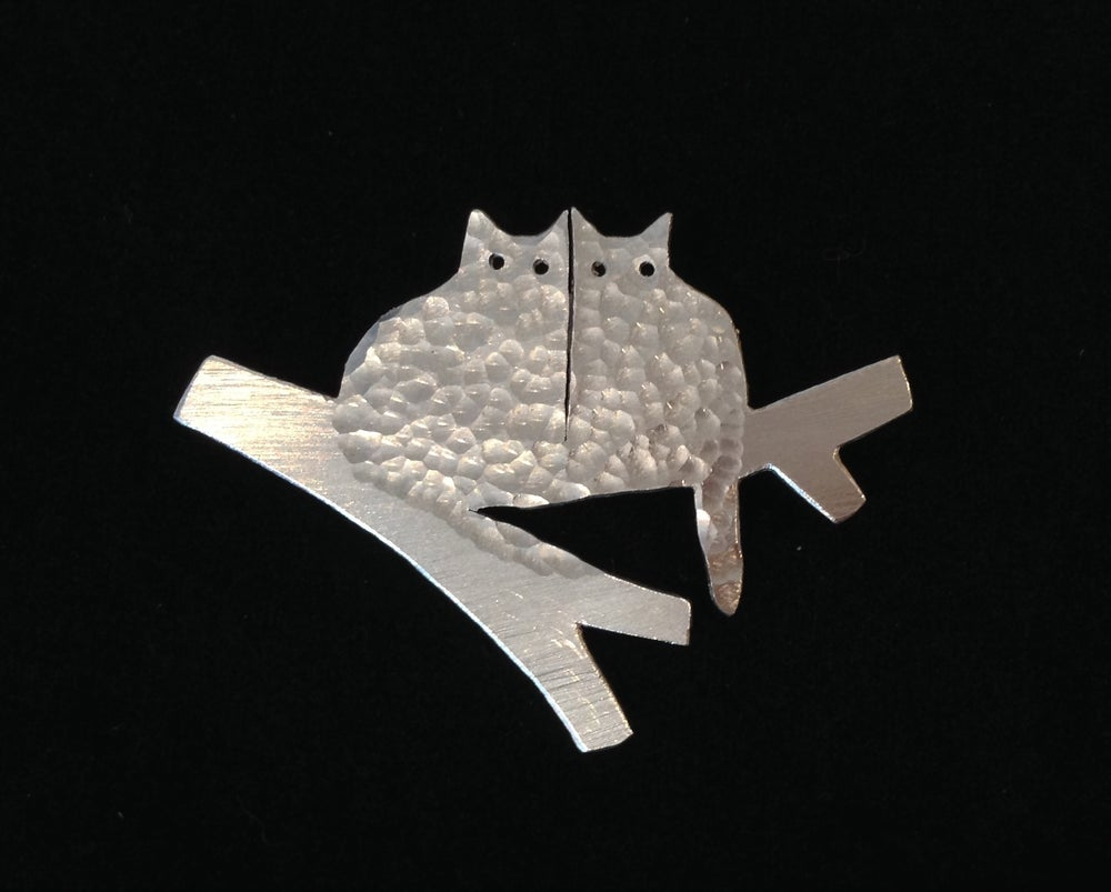 Image of Two Cats  In A Tree brooch