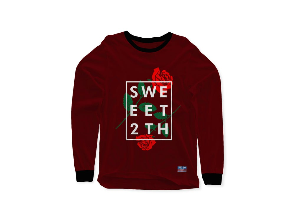 Image of STA ROSA INGRID LONG SLEEVE TEE MAROON & BLACK
