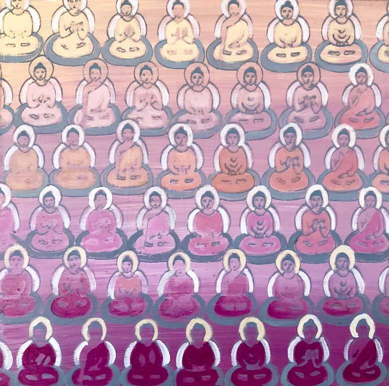 Image of Tiny Pink Gradient Buddhas