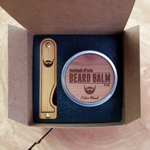 Image of Beard Comb & Balm Kit - Personalized Grooming Gift Set - Tortoise Shell Acrylic