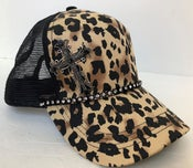 Image of Leopard Trucker Hat with a Black Crystal Cross