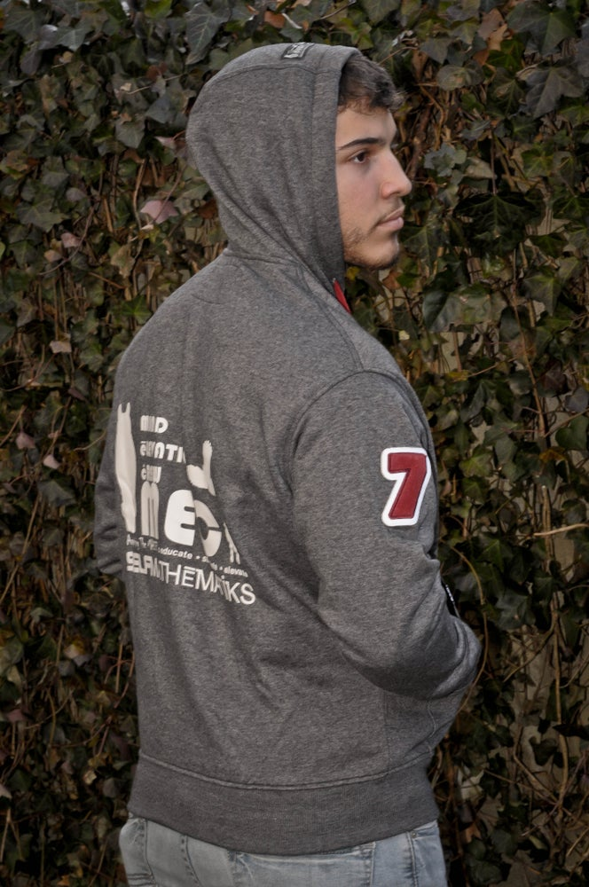 "Image of VARSITY ZIP UP ""HOODIE SEASON"" CLASSIC HOODIE ORIGINAL. Dark Grey, Burgundy, White"