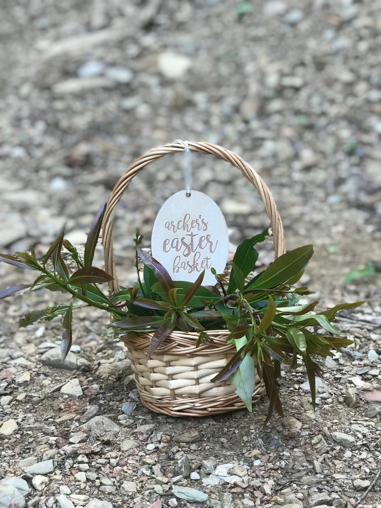 Image of PERSONALISED SCRIPT EASTER BASKET TAG
