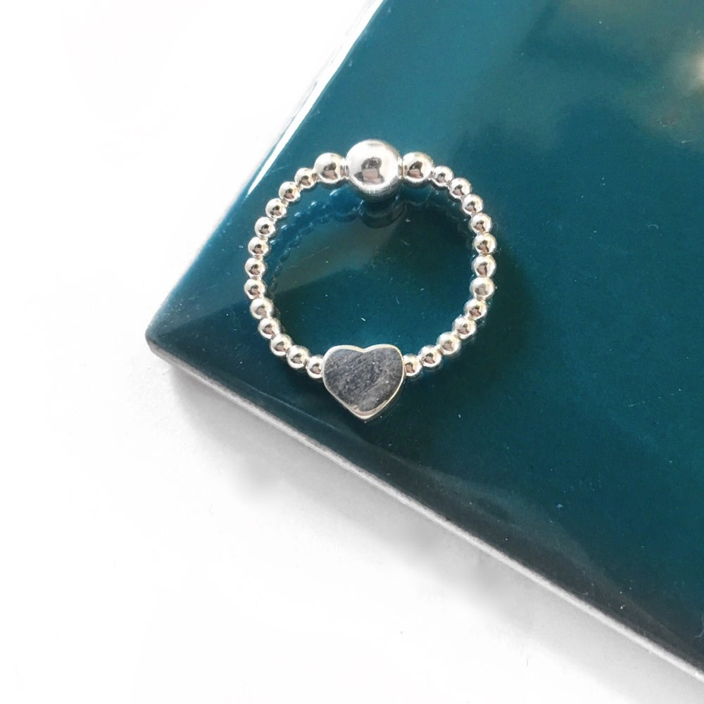 Image of Sterling Silver Heart Bead Ring