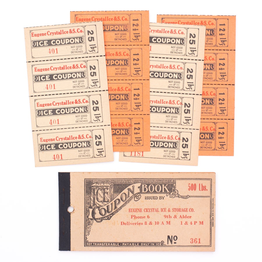 Image of 1940's Ice Coupon Ticket Booklet - Orange / Yellow