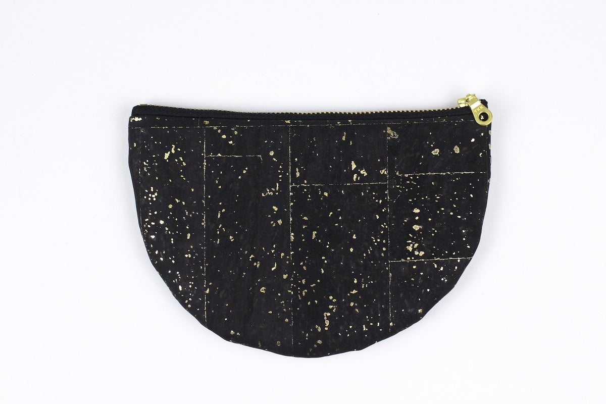 Image of Paula Clutch In Black Cork With Gold Speckles