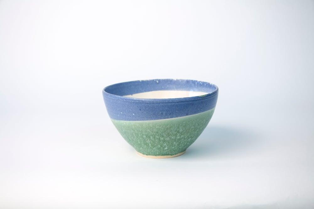 Image of powder blue & copper med. bowl