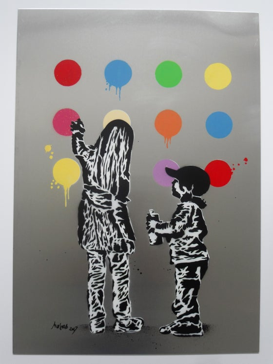 "Image of ALESSIO-B ""SPRAY KIDS"" - ORIGINAL ON ALUMINIUM - 50CM X 70CM"