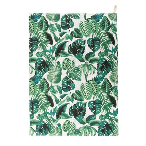 Image of Botanical Leaf Printed Tea Towel