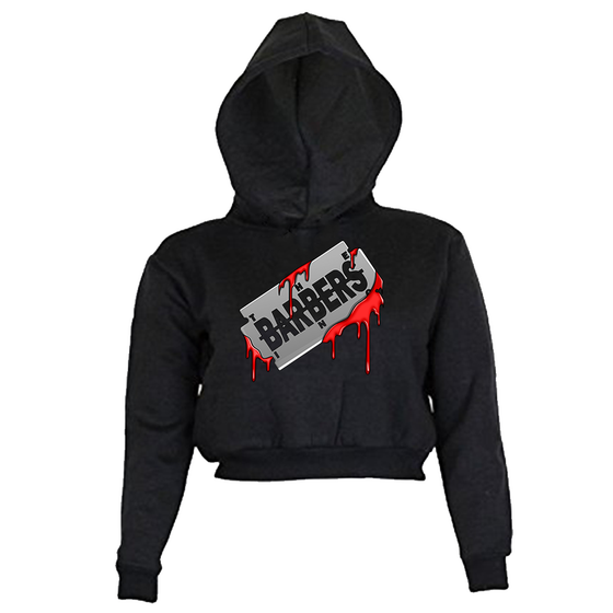 Image of Women's Crop Top Hoodie - Bloody Razor