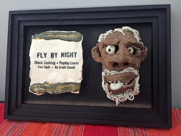 Image of Fly By Night Yellow - Carved Face Sculpture