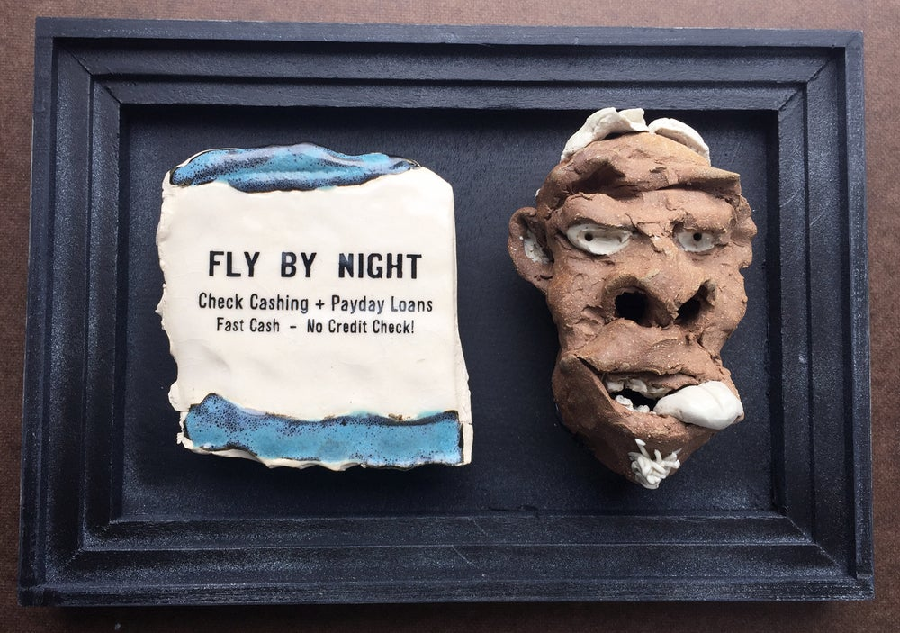 Image of Fly By Night Blue - Carved Face Sculpture