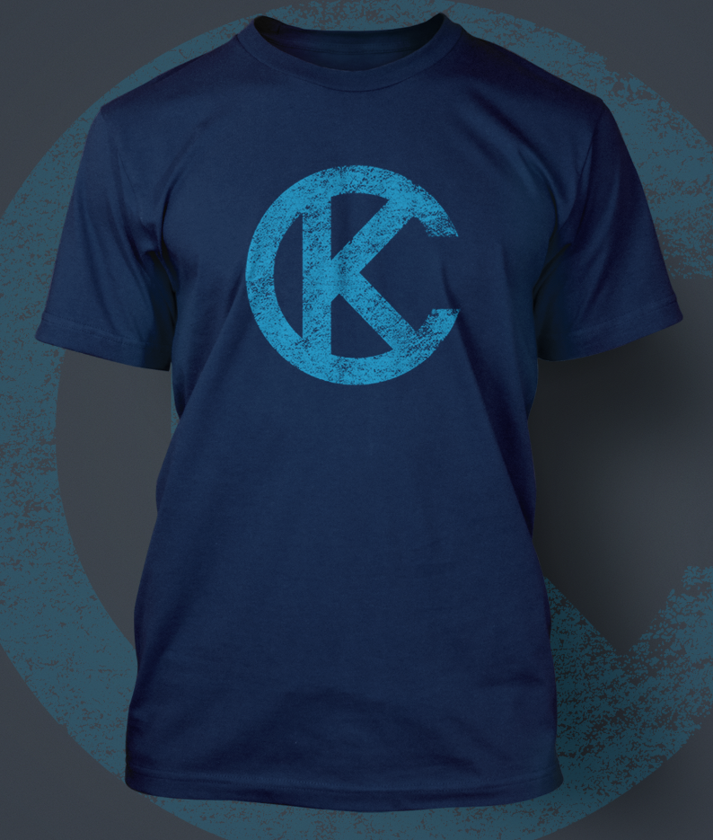 Image of Loyalty KC Navy and Light Blue KC Logo Shirt