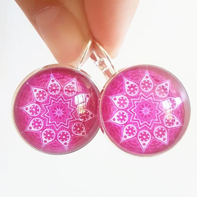 Image of Earrings - Pink Mandala