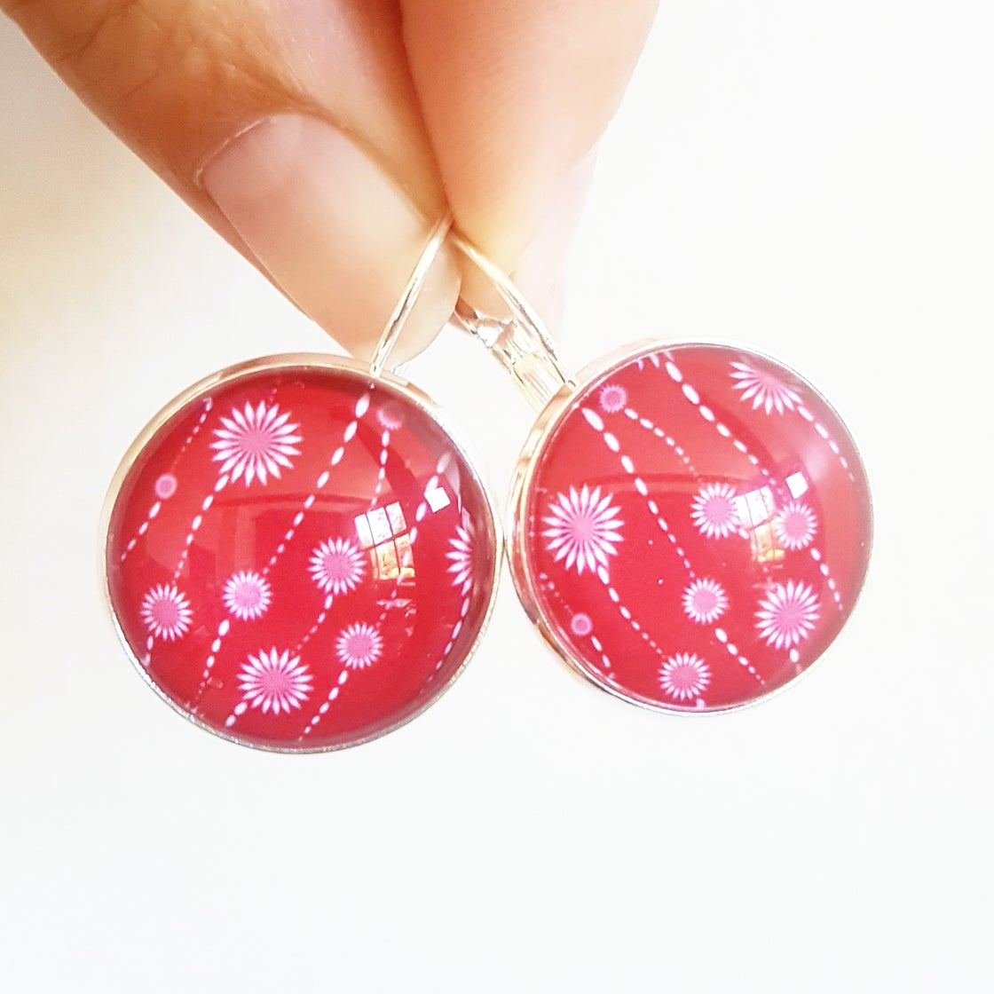 Image of Earrings - Red & White Blooms