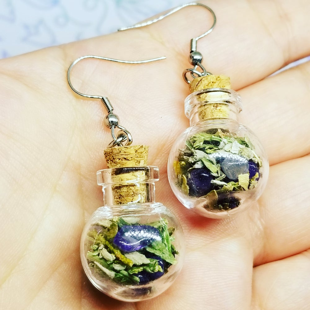 Image of Round glass jar earrings with amethyst & medicines