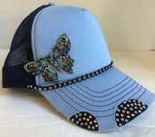 Image of Triple Crystal Trucker Blue Crystal Butterfly