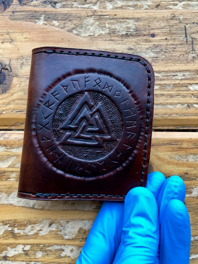 "Image of ""Valknut, Huginn and Muninn"" Custom Four Slot Bi-Fold Wallet"