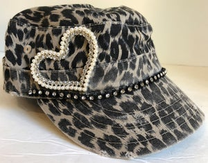 Image of Cadet Hat Pearl and Crystal Heart