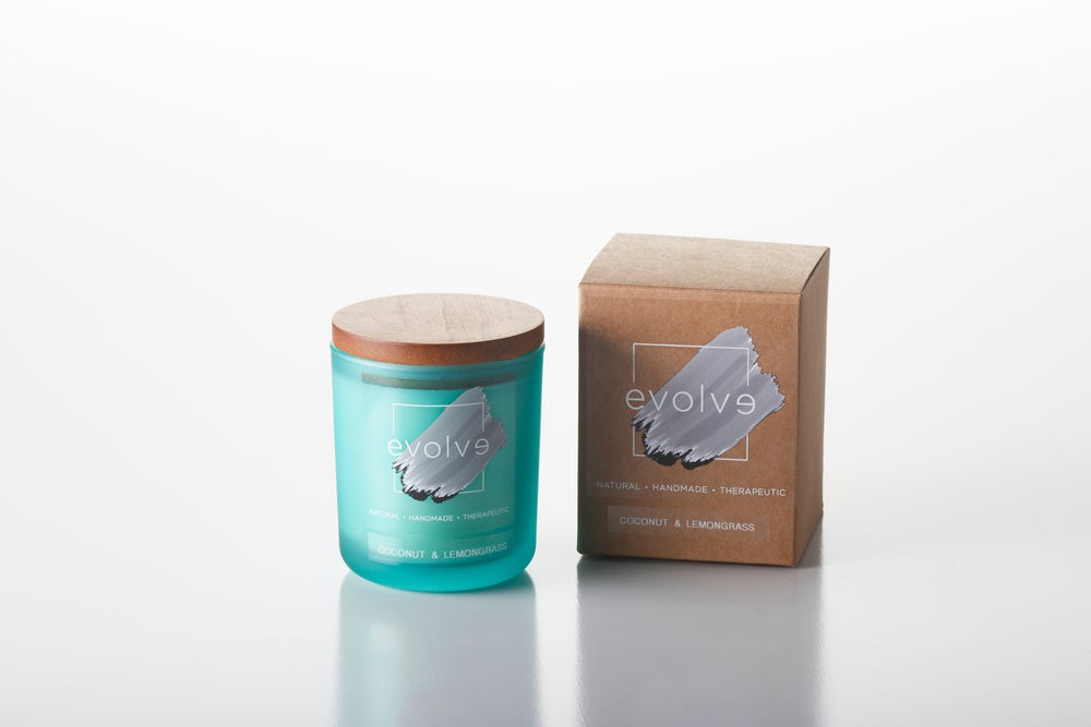 Image of Teal Glass Frosted Soy Candle Large 350g