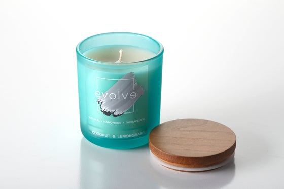 Image of Teal Glass Frosted Soy Candle 350g