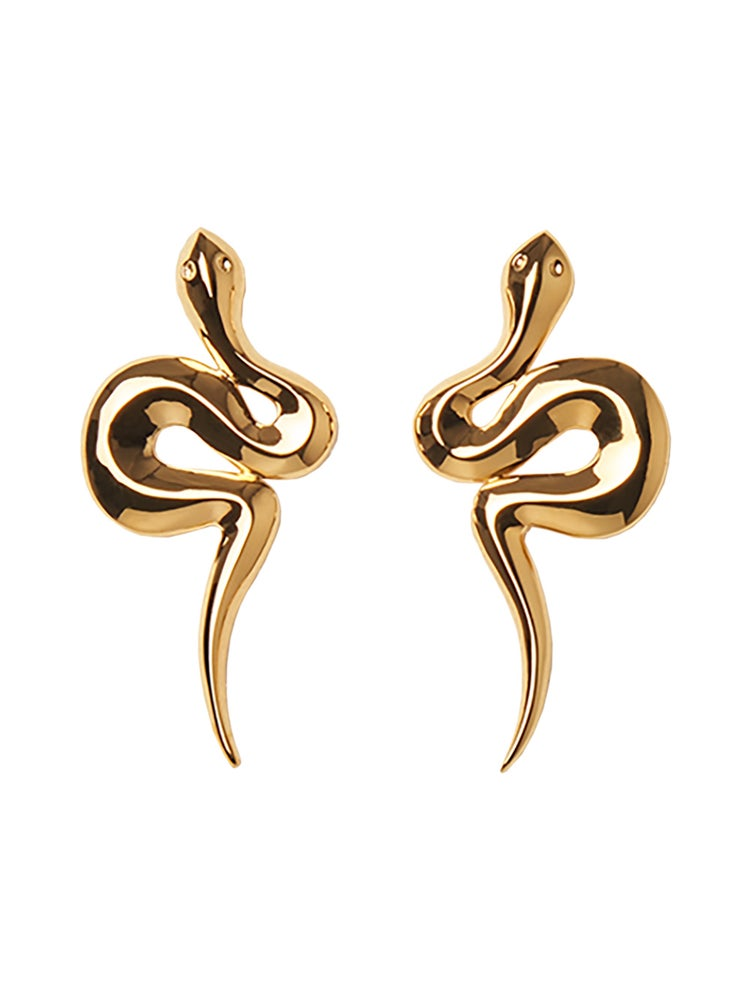 Image of SNAKE EARRINGS GOLD