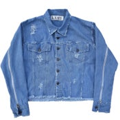 Image of Cropped Distressed Denim Jacket