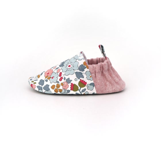 Image of Betsy Liberty of London print handmade soft baby shoes