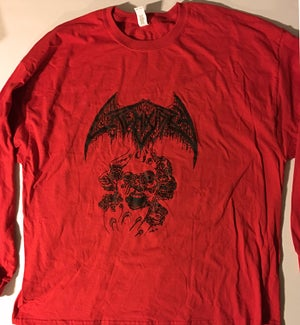 """Image of Crematory """" Three Faces """" T shirt Red Long Sleeve"""