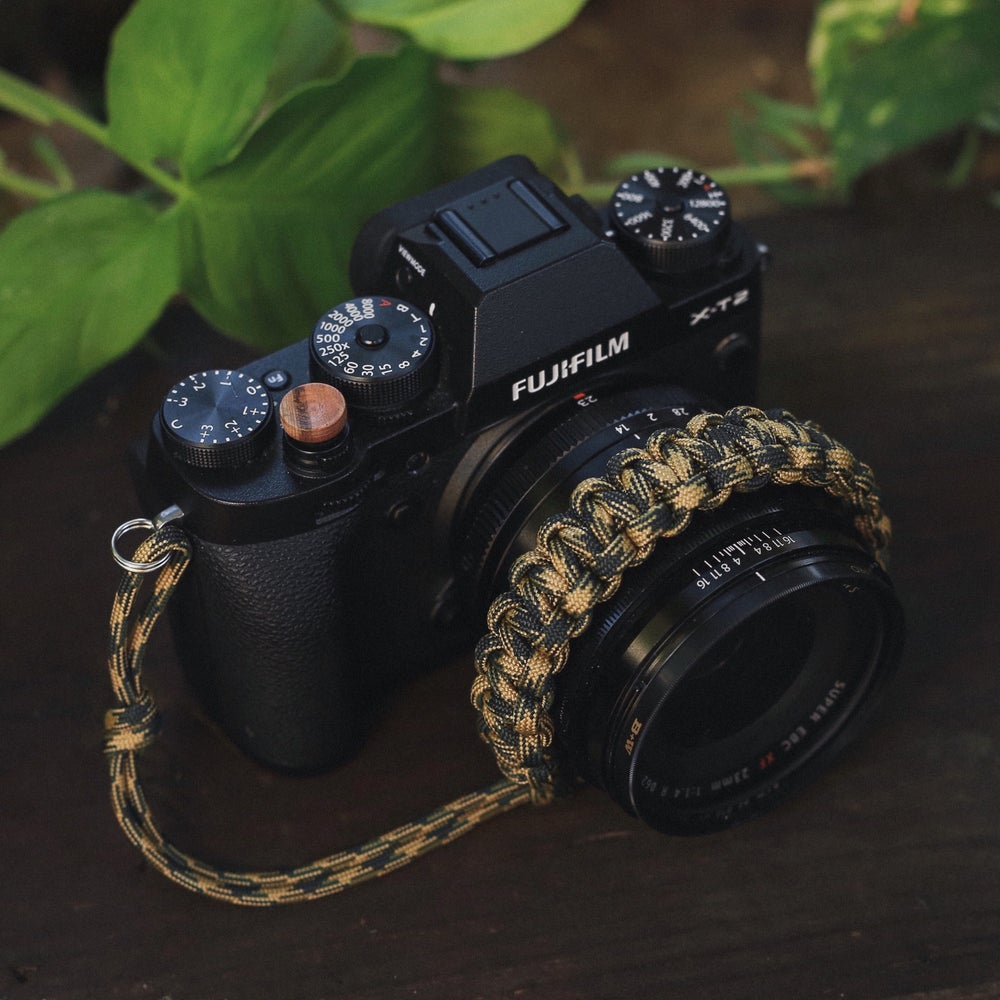 Image of Woodland Camouflage adjustable camera wrist strap