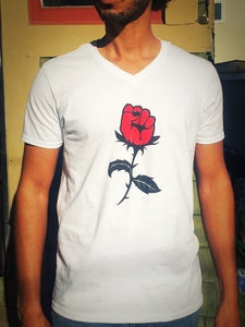 Image of RoseFist Tee - WHITE - Men's/Unisex