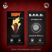 Image of Hellboy/B.P.R.D.: Right Hand of Doom and B.P.R.D. Antiqued logo pins! FREE U.S. SHIPPING!