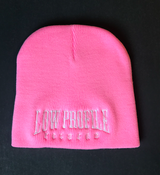 Image of Pink LowProfile Records  Beanie white colors