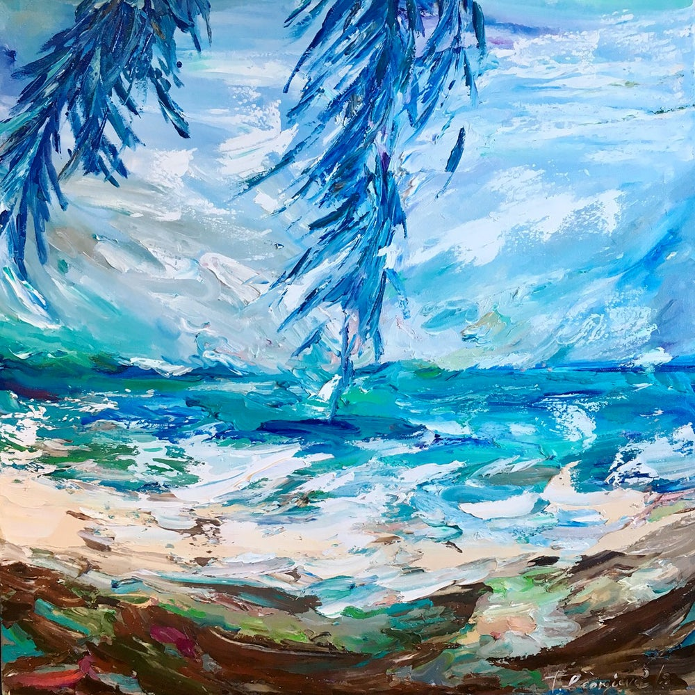 Image of 'Windy day under the palms' - 90x90cm