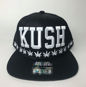Image of kush Hat snap back BLACK WHITE
