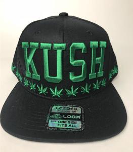 Image of kush Hat snap back BLACK GREEN