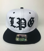 Image of WHITE & BLACK HAT SNAPBACK  L P G IN BLACK COLOR
